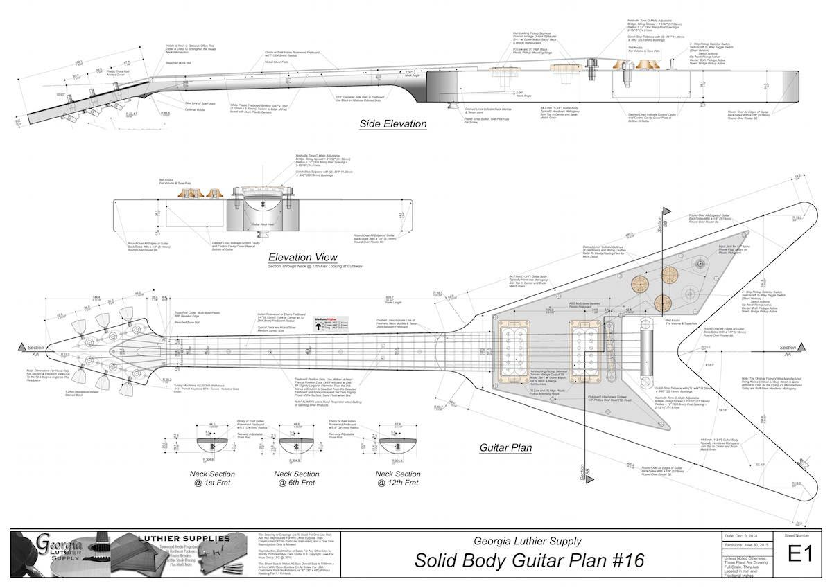 Solid Body Electric Guitar Plan 16 Electronic Version With