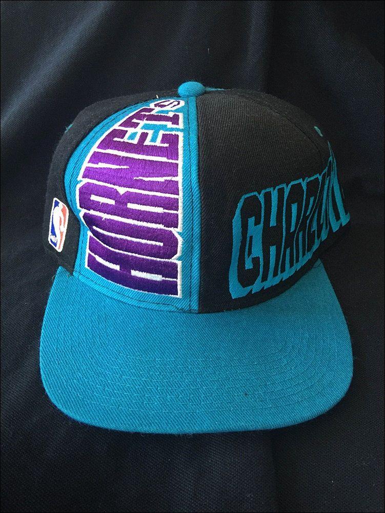 5bb92da45609a Vintage Deadstock 90 s NBA Charlotte Hornets Wraparound Snapback Hat by  RackRaidersVtg on Etsy