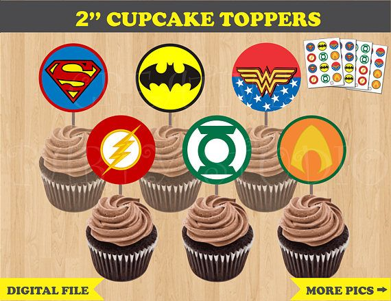 Justice League Party Cupcake Toppers Birthday Printables DIY Superheroes