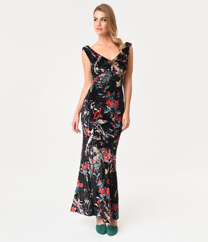 Unique Vintage 1930s Style Black Floral Sleeveless Velvet Goldwyn Gown Prom Dresses Vintage Vintage Fashion 1930s Fashion [ 1023 x 879 Pixel ]