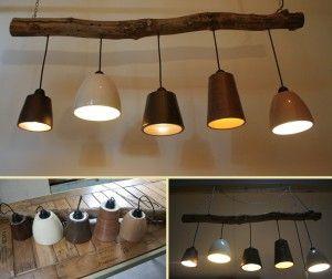 Hanglamp op tak met verschillende hanglampen lamp idee n pinterest hanglampen hanglamp en - Balk decoratie ...