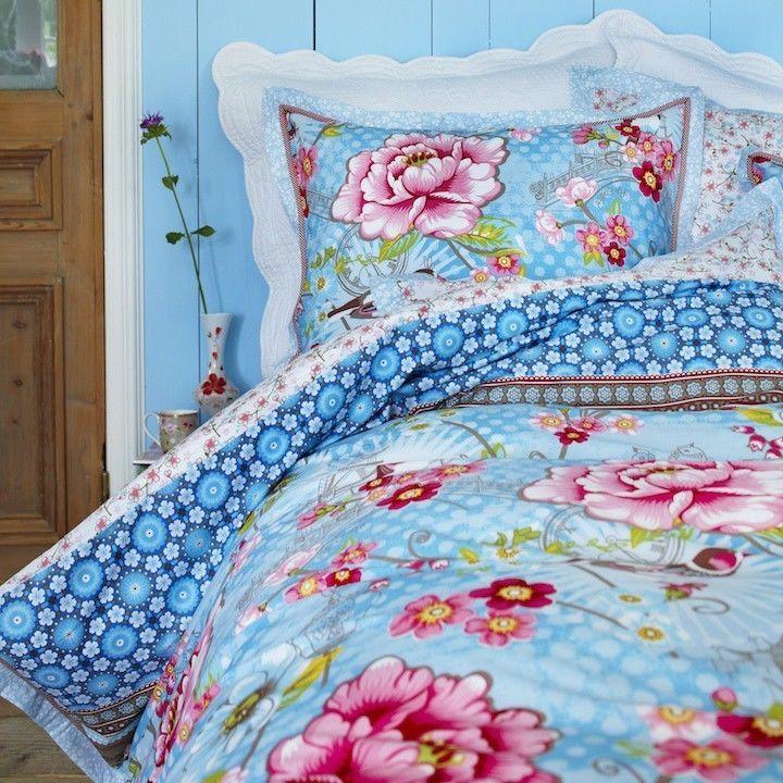Pip Bettwäsche Chinoise Light Blue Hellblau Blumen Blüten Vögel Romantik  Perkal