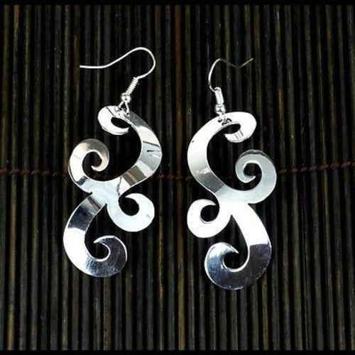 Large Silverplated Scrollwork Earrings - Artisana