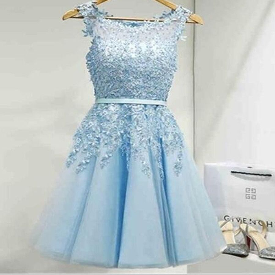 2017 Light blue appliques lace see through lovely freshman homecoming prom gown dress The light blue lace cute homecoming dresses are fully lined, 8 bones in the bodice, chest pad in the bust, lace up