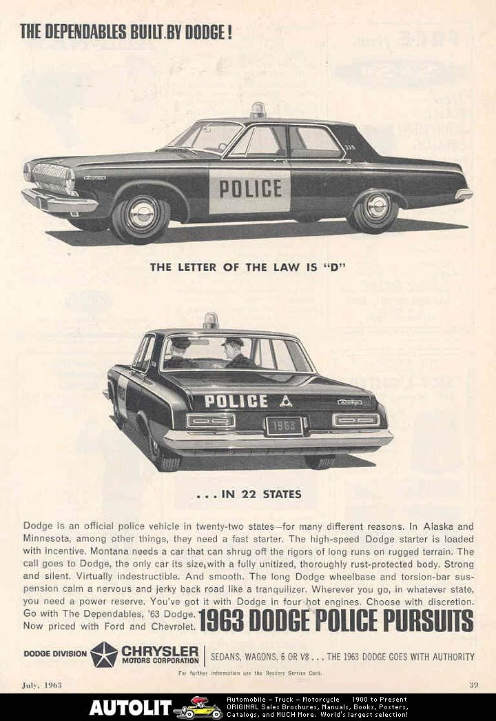 1960 Dodge Dart Police Pursuit Police Car | 1960 Dodge Dart ...