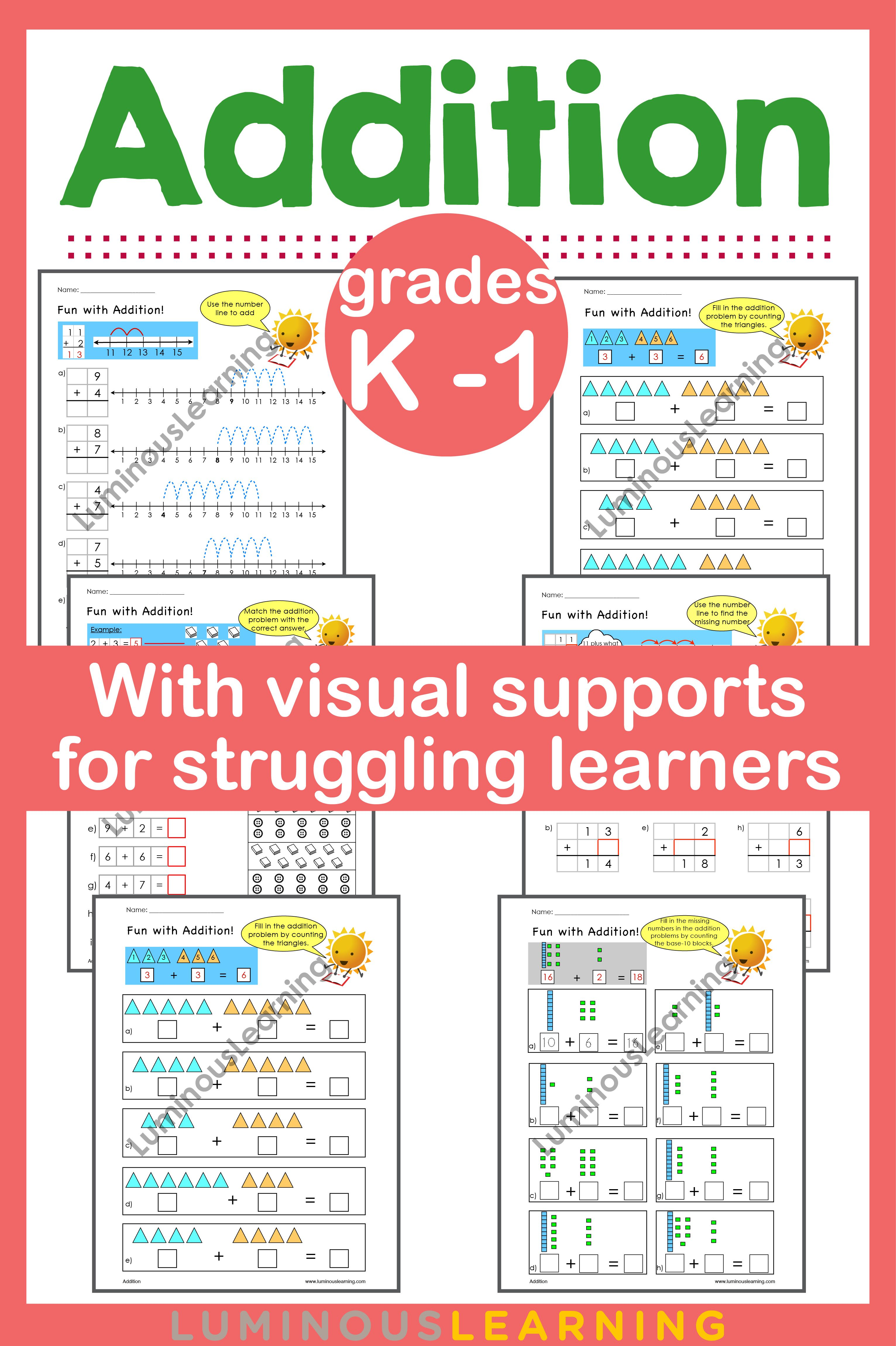 Addition Worksheets For Kindergarten And Grade 1 With