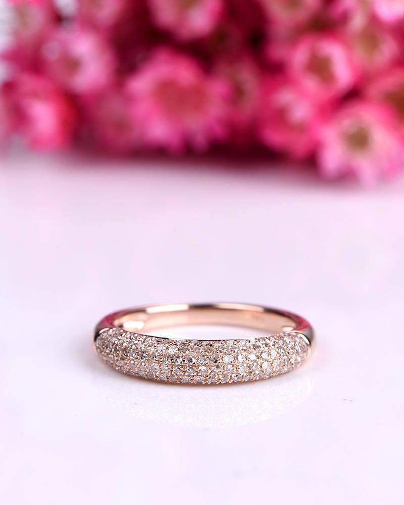 Elegant diamond engagement ring diamond wedding band 14k rose gold ...