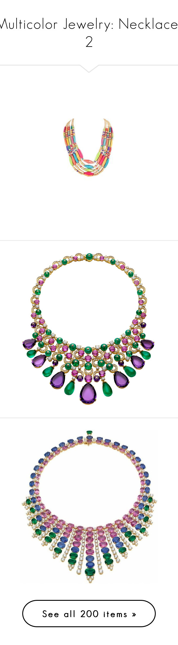 """Multicolor Jewelry: Necklaces 2"" by franceseattle ❤ liked on Polyvore featuring jewelry, necklaces, multi-chain necklace, multicolor bead necklace, gold tone necklace, layered chain necklace, multi row necklace, bulgari jewellery, bulgari jewelry and bulgari"