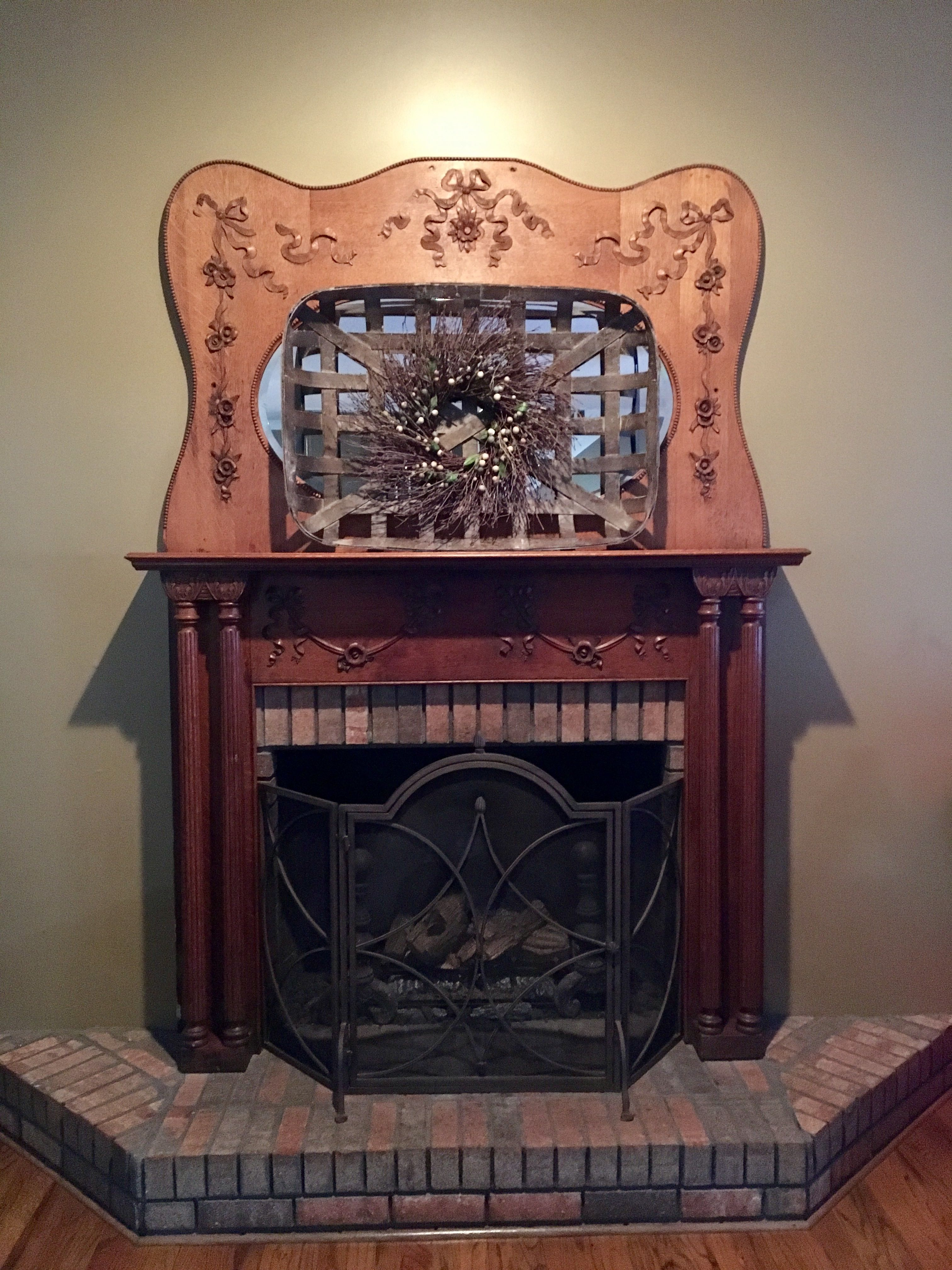 tobacco basket on a beautiful antique mantel blessyourheart