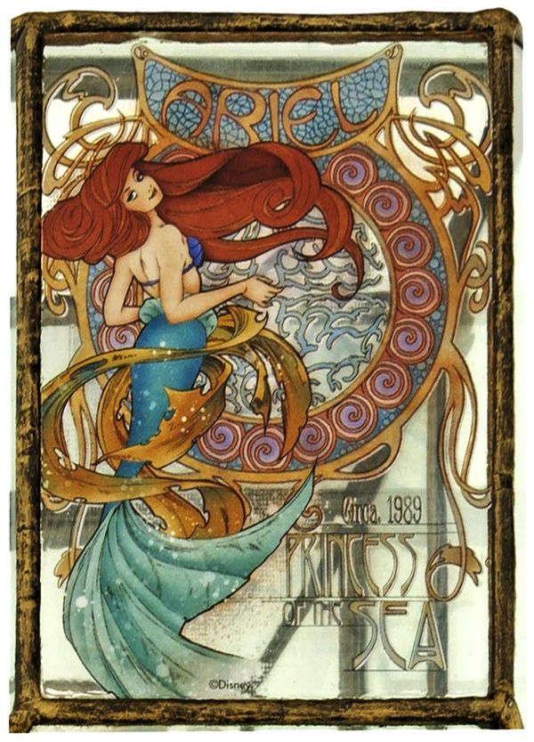 """Ariel: Princess of the Sea"" Disney Princesses in Art Nouveau style. (Jasmine and Aurora at the source are good too, although I strongly suspect Jasmine would have been labeled ""Oriental Princess"" at the time Art Nouveau was en vogue.)"