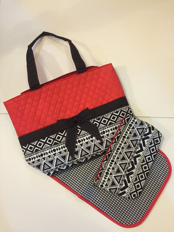 Black/Red/White Quilted Diaper Bag with by KensingtonMaryDesign https://www.etsy.com/shop/KensingtonMaryDesign?ref=l2-shopheader-name