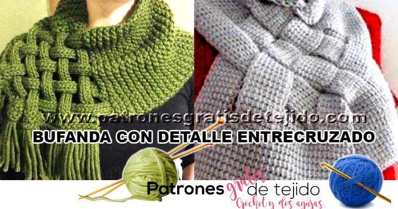Aprende a tejer una bufanda o chal con detalle entrecruzado paso a ...