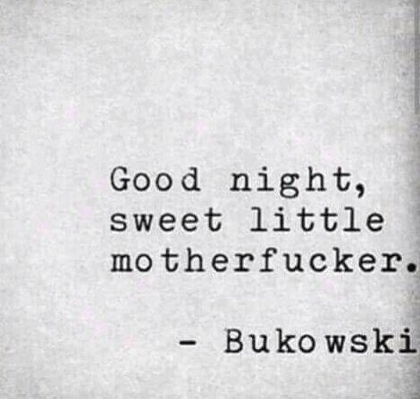 Good Night Sweet Little Motherfucker Bukowski Bukowski This