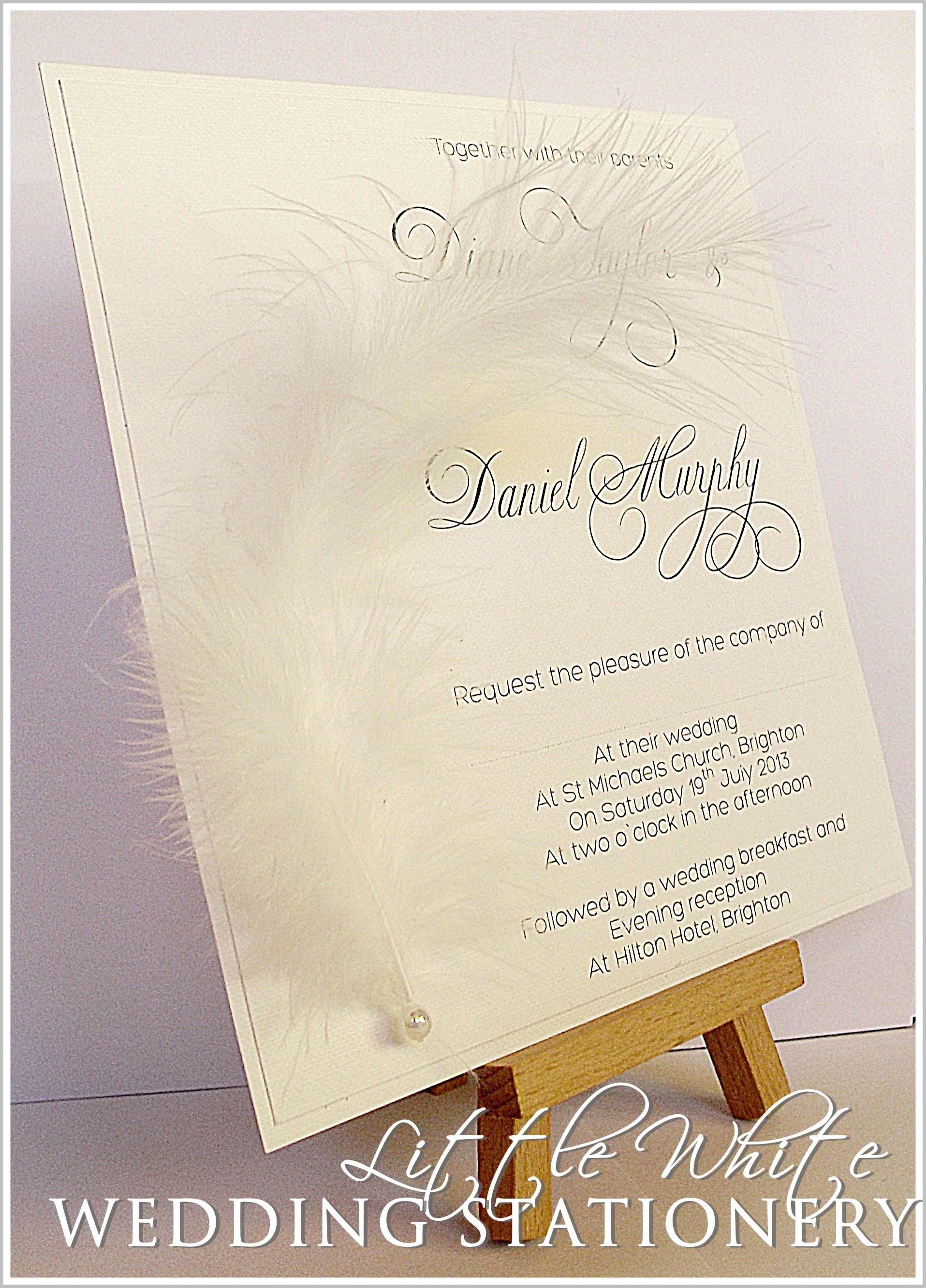 Marabou Feather Wedding Invitations & Stationery pop over my ...