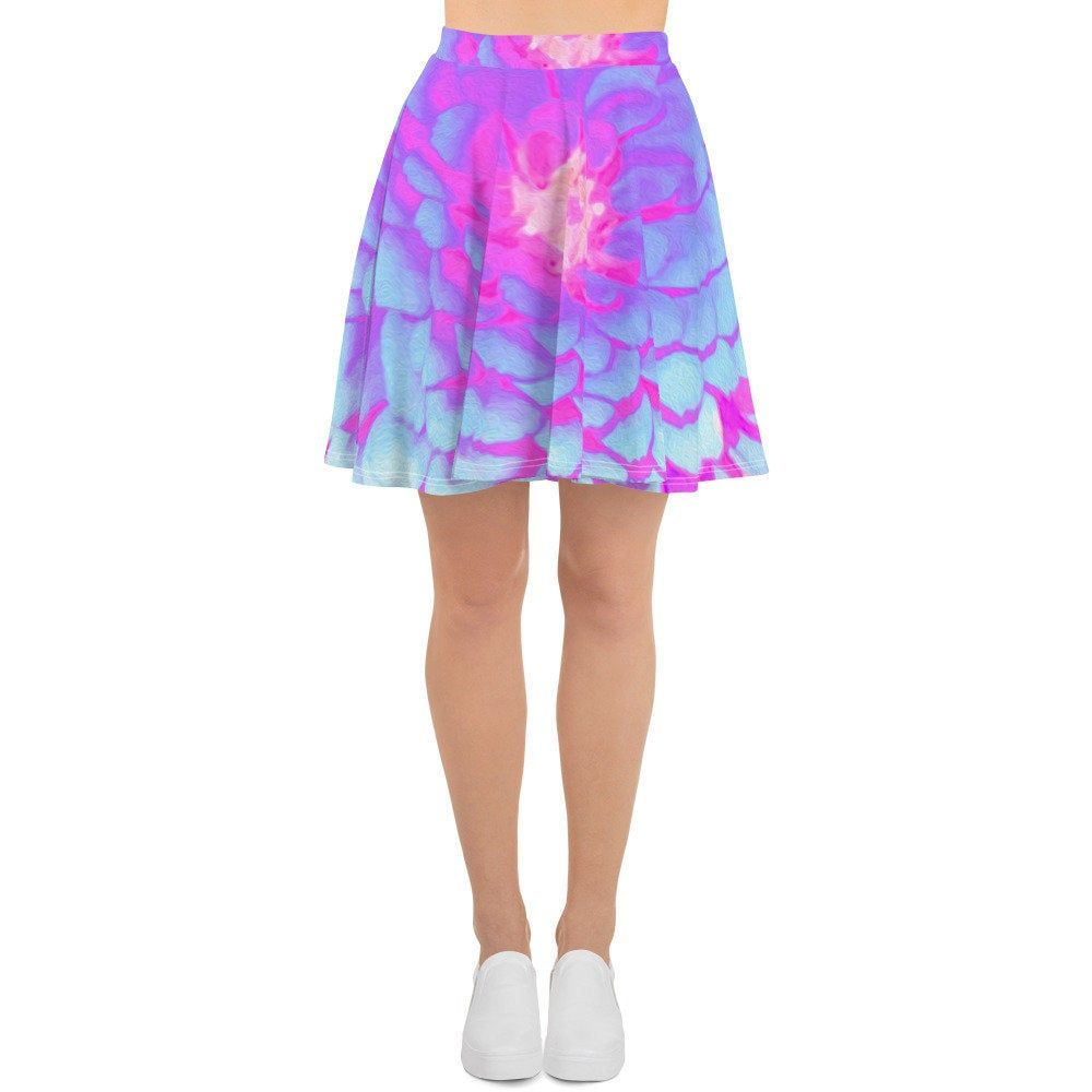 Skater Skirt, Fashion Circle Skirt for Women and Teen Girls, Pretty Purple and Pink Zinnia in the Summer Garden, Plus Size Flared Skirt