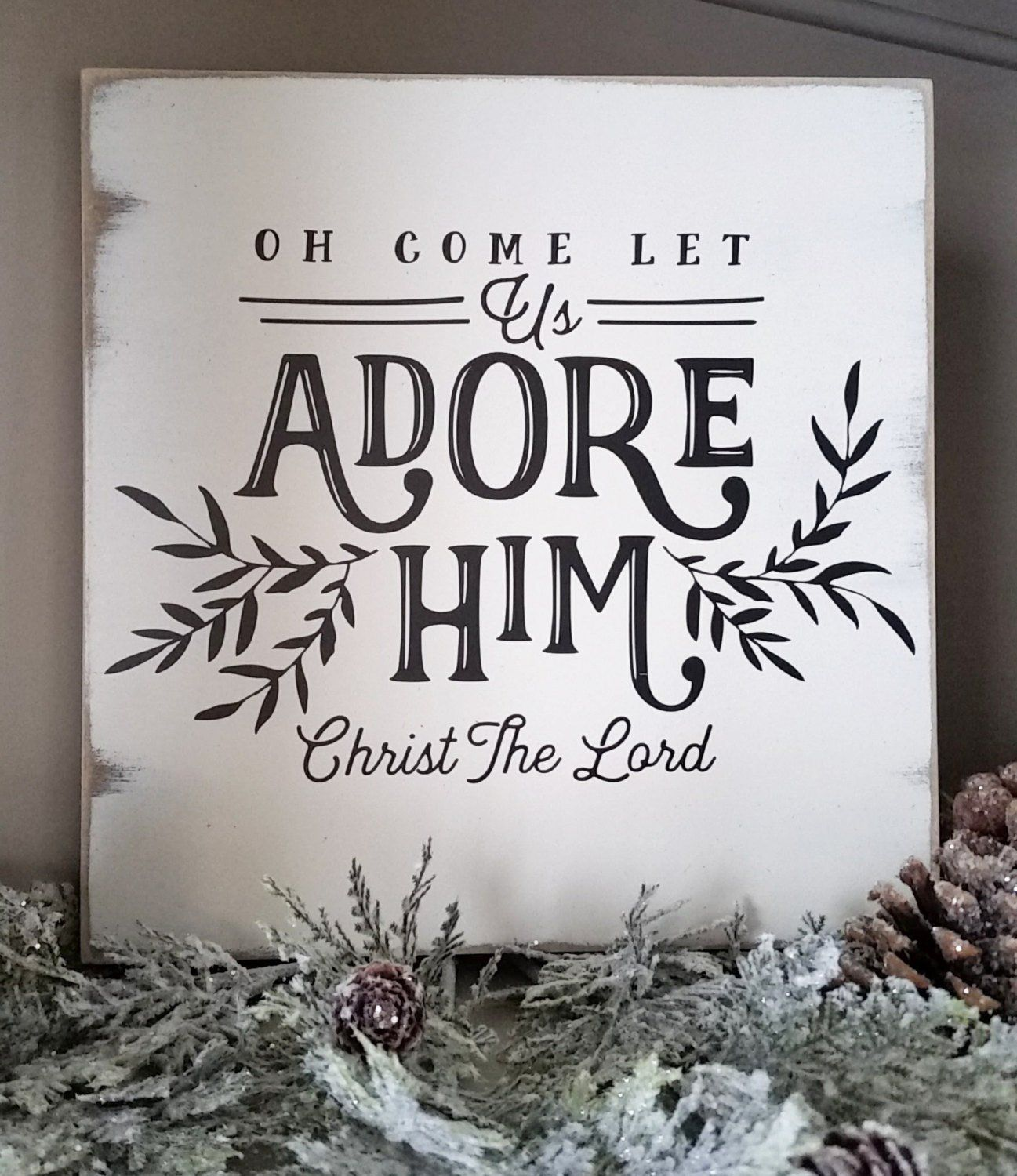 12in Oh COME Let Us ADORE HIM Hand Painted Wood Sign ...