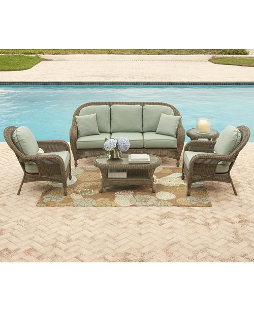 Furniture Sandy Cove Wicker Outdoor Sofa Created For Macy