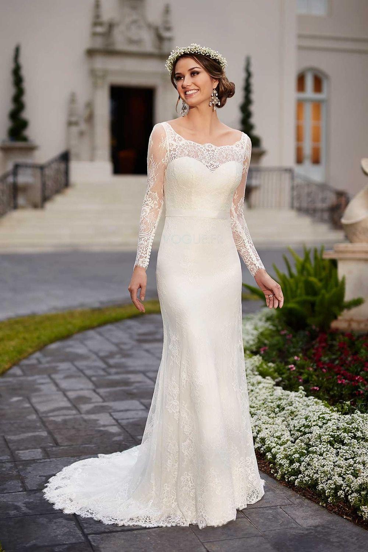 Robe de mariée classe manche longue avec dentelle mancheron