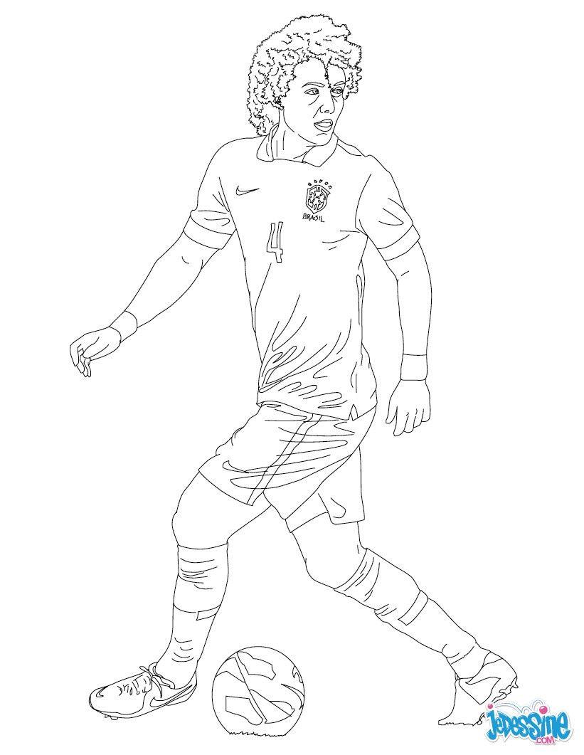 Coloriage du joueur de foot David Luiz € imprimer gratuitement ou colorier en ligne sur