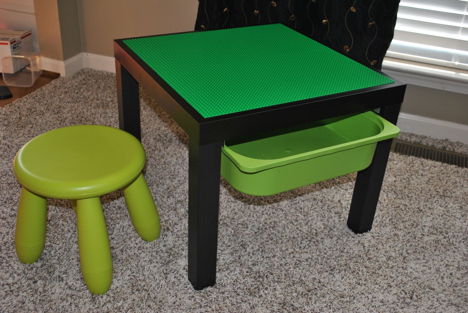 Custom Made Lego Tables With Stool And Storage Bin