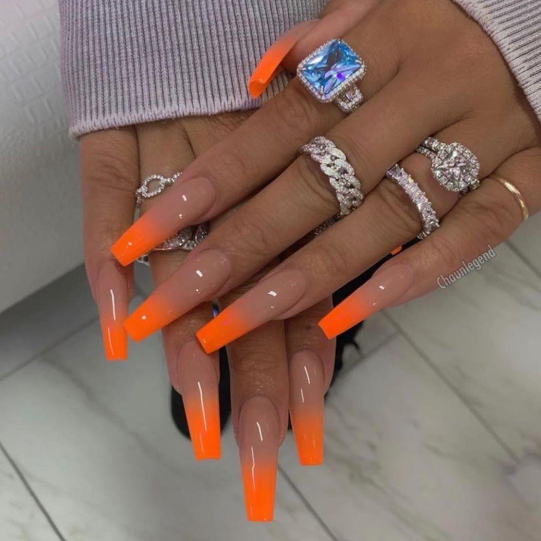 Fashion Black And White On Instagram Heathersanders Fashionbaw Orange Acrylic Nails Long Acrylic Nails Pretty Acrylic Nails