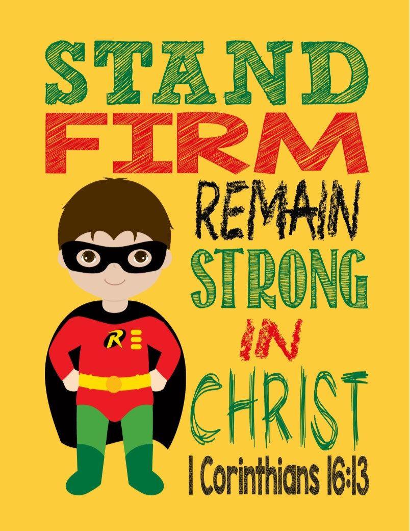 Robin Christian Superhero Nursery Decor Art Print - Stand Firm ...