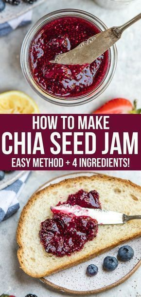 Skip the refined sugars and make your own healthy Chia Seed Jam using only 4 basic ingredients! It's perfect on toast, in oatmeal, on sandwiches, and more. via the refined sugars and make your own healthy Chia Seed Jam using only 4 basic ingredients! It's perfect on toast, in oatmeal, on sandwiches, and more. via