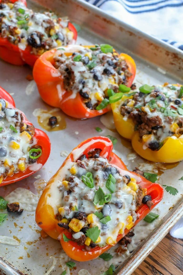 Spicy Ground Beef Black Beans And Corn Are Tucked Inside These Stuffed Peppers In 2020 Stuffed Peppers Stuffed Bell Peppers Stuffed Peppers Beef