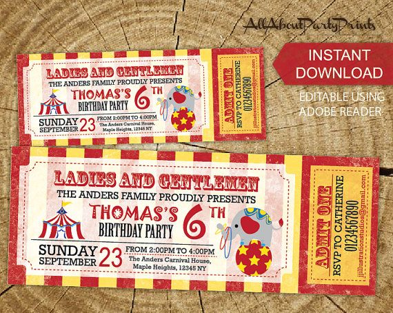 Instant Download- Circus Carnival birthday themed ticket - free ticket invitation template