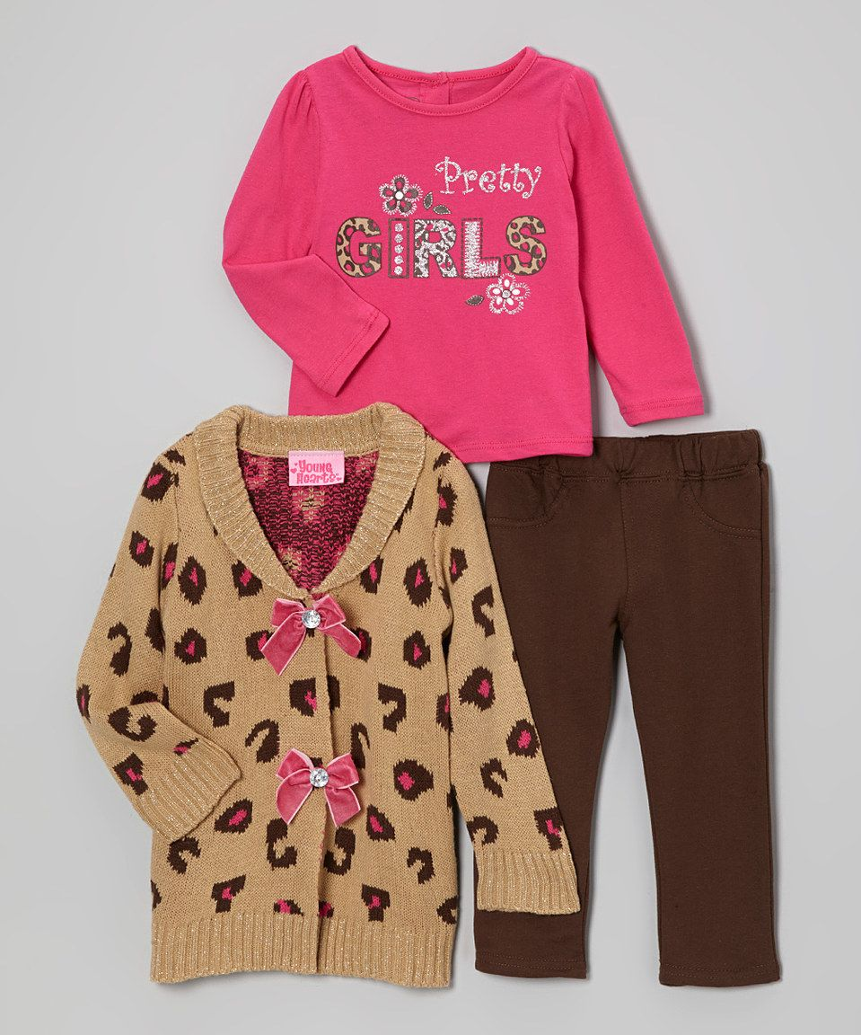 Loving this Young Hearts Light Pink & Brown Bow Sweater Set ...