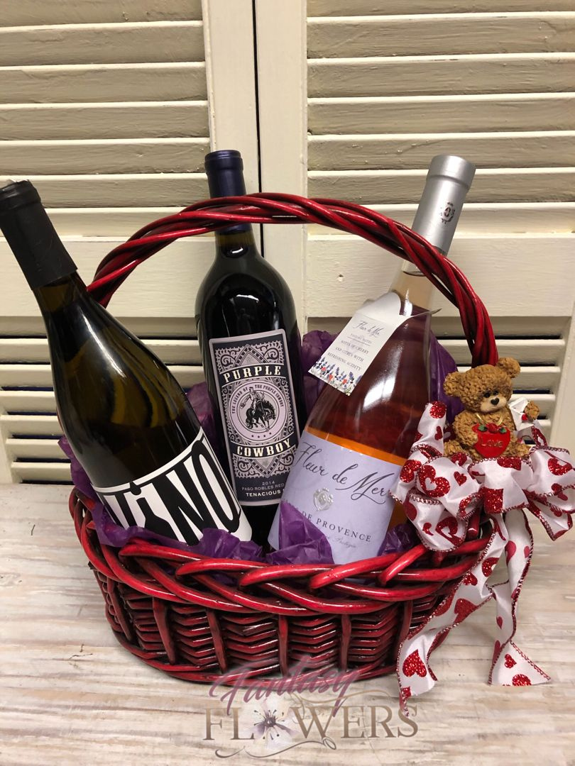 Red, white and Rosa' Wine gifts, Wine baskets, Flower