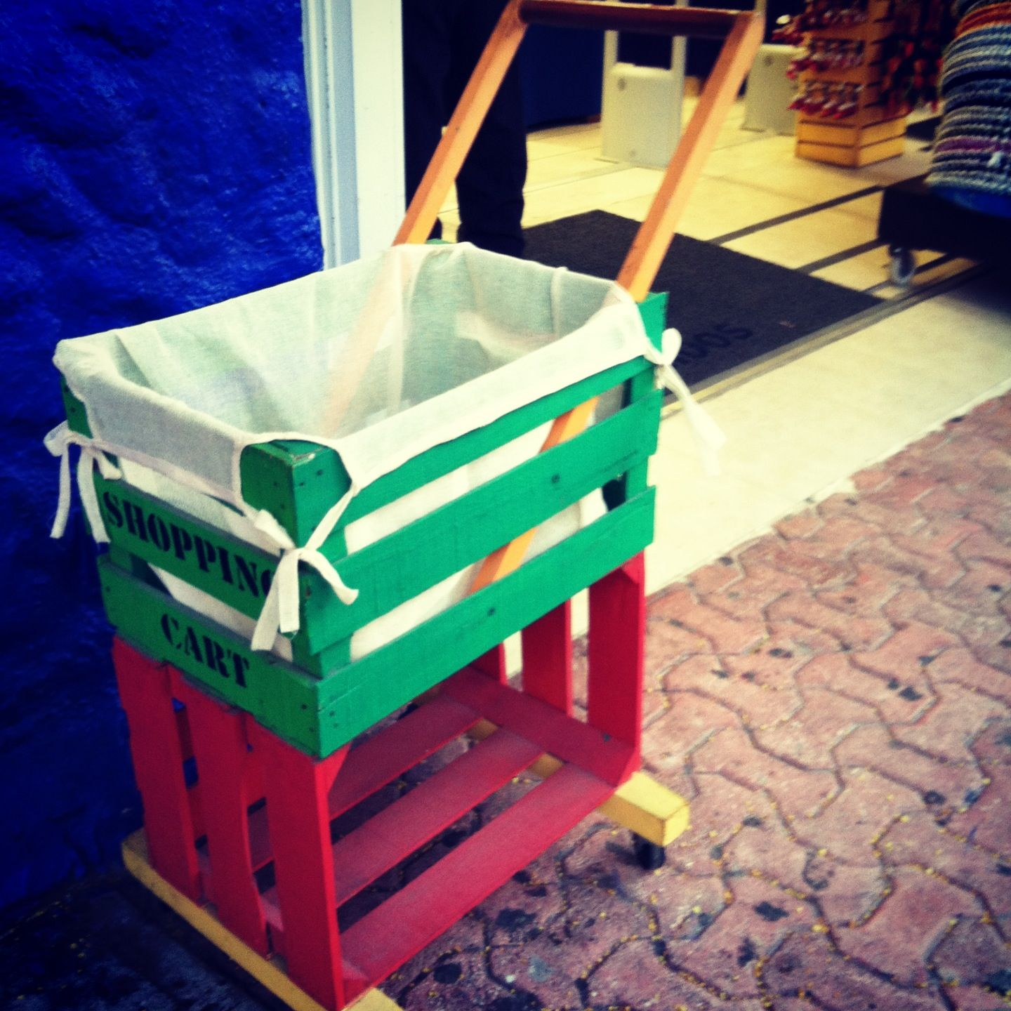 kids shopping cart made out of wood crate. i can do this