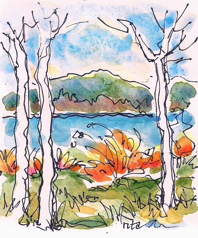 Maine Tiny Autumn Series Watercolor Sketch Drawings Watercolor Art