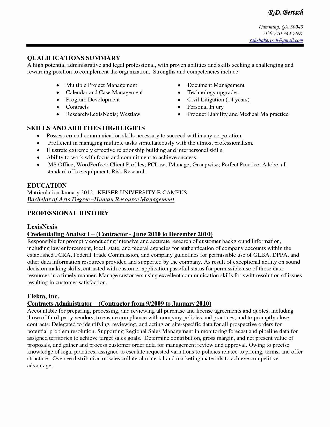 Administrative assistant Resume Summary Unique Resume for