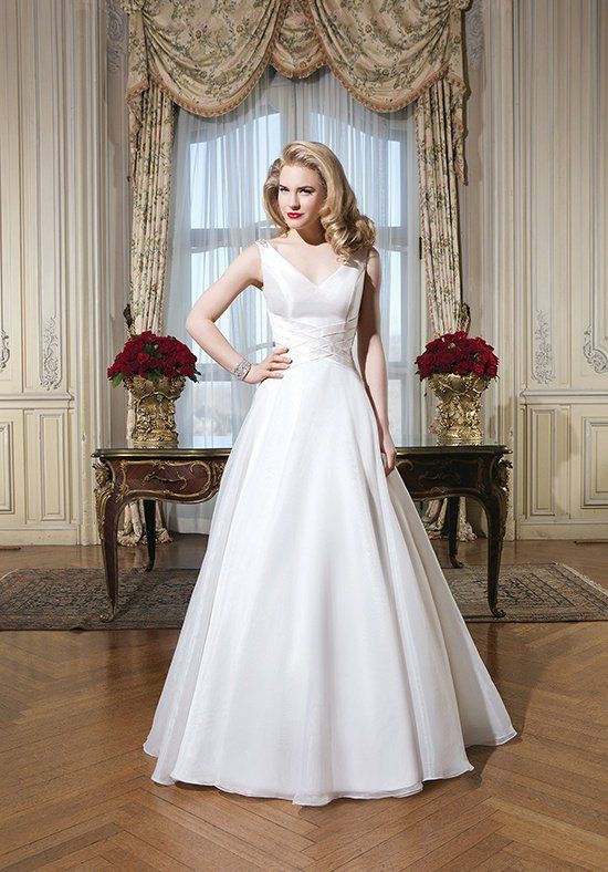 Organza, silk dupion A-line dress accentuated by a tank neckline