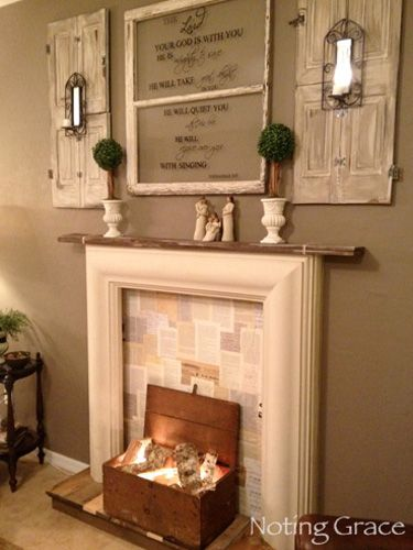 Since there\u0027s no risk of flame back your fireplace with wallpaper of your choosing. This blogger chose book pages. Get the tutorial from Noting Grace » & 18 Ways to Dress Up Your Fireplace (No Fire Necessary) | Ideas for ...