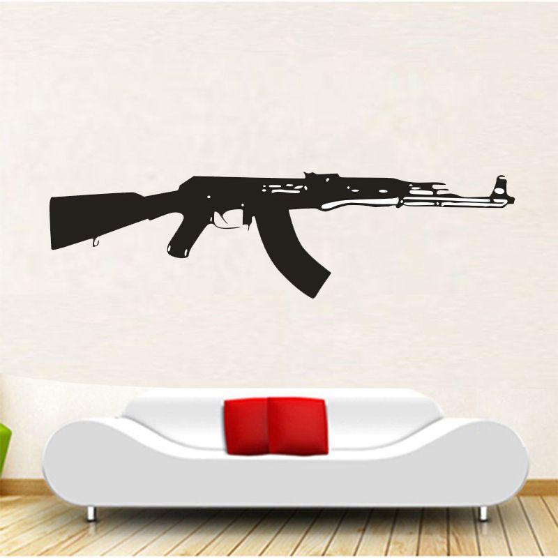 New Sale WALL DECAL VINYL STICKER AK-47 GUN WEAPON MILITARY DECOR 5 Sizes #