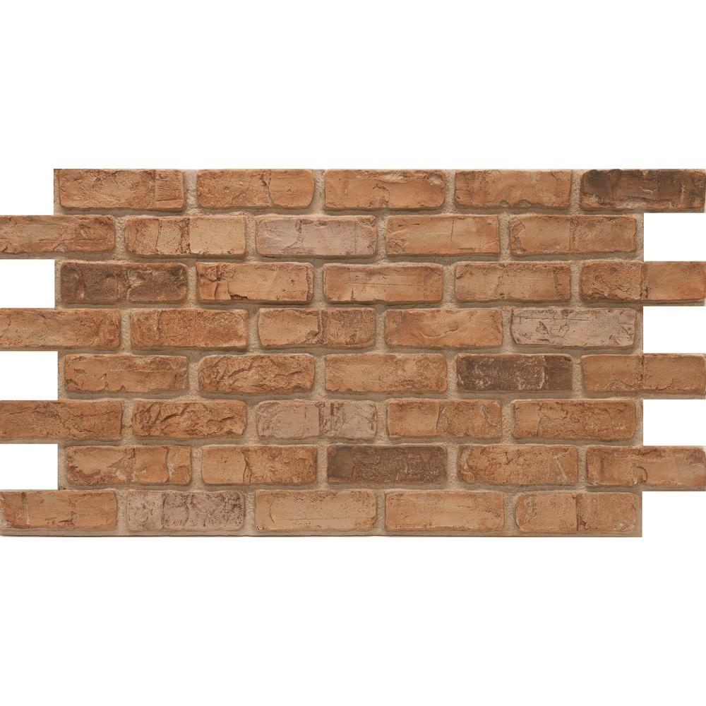 Urestone Weathered Orange 24 In X 46 3 8 Faux Used Brick Panel 4 Pack