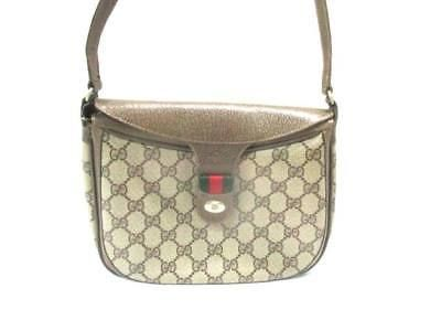 f329c0b668b Auth GUCCI GG Old Gucci Shelly Beige Dark Brown Multi PVC Leather Shoulder  Bag (eBay Link)