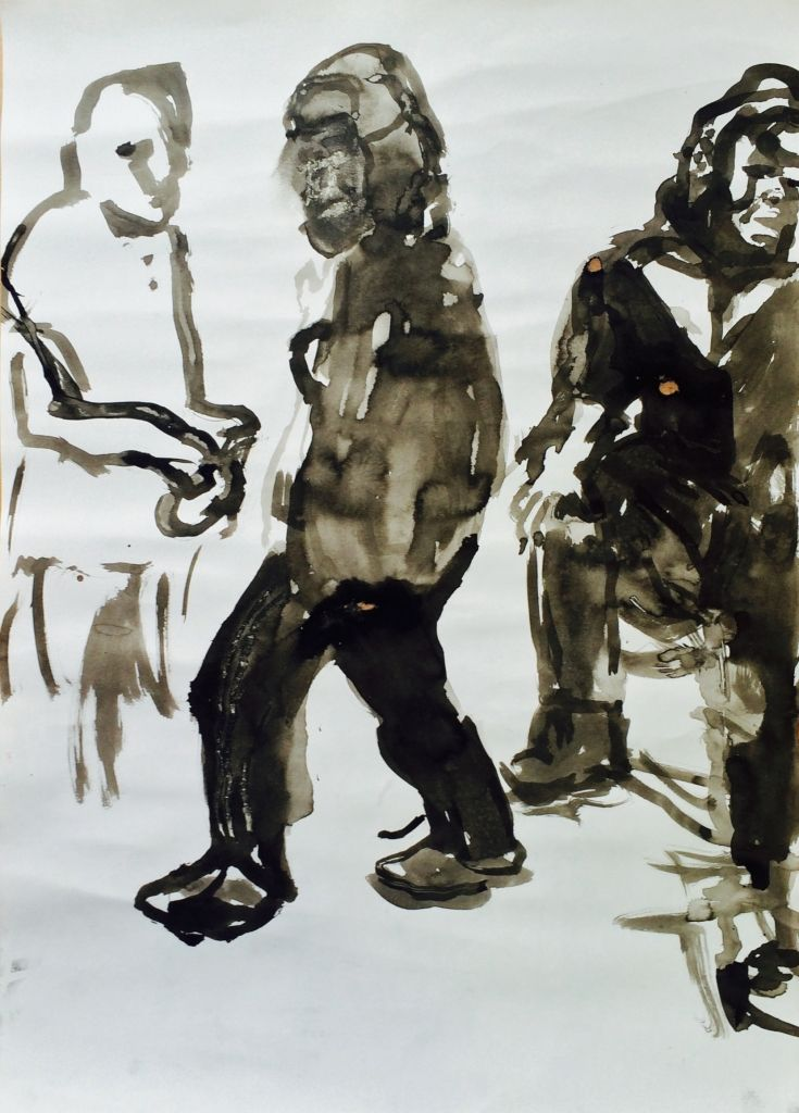 """Holly Froy """"Three Men"""" Ink on paper"""
