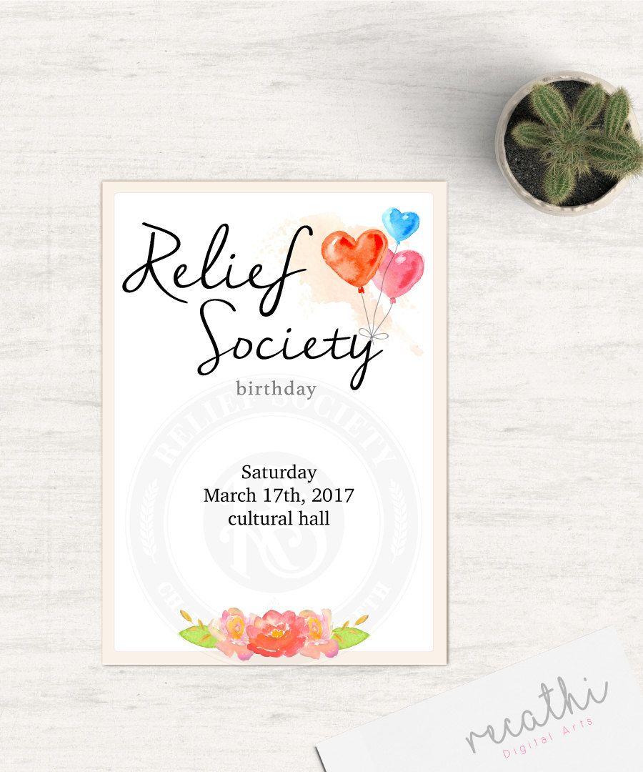 Editable Birthday Relief Society Invitation LDS Relief