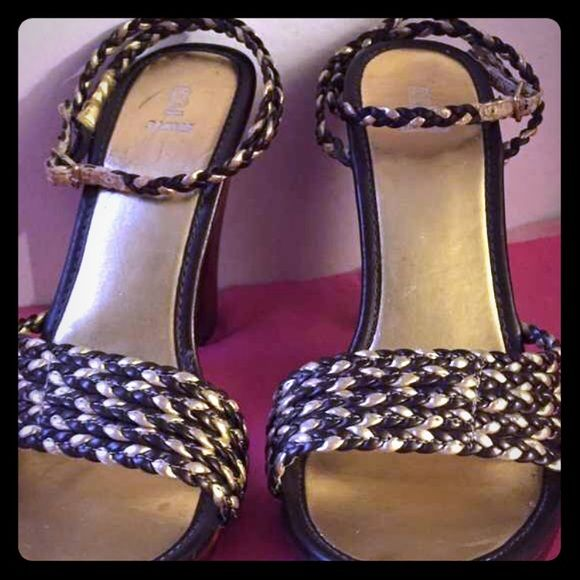 The gold/brn braided heels r 2 cute to pass up Ladies these look fantastic for a dressy girls night out or casual movie night with a pair jeans the wraparound ankle strap gives it a sexy twistbut still gives you good support for a comfy shoe.  Fun shoe girls Bakers Shoes Heels