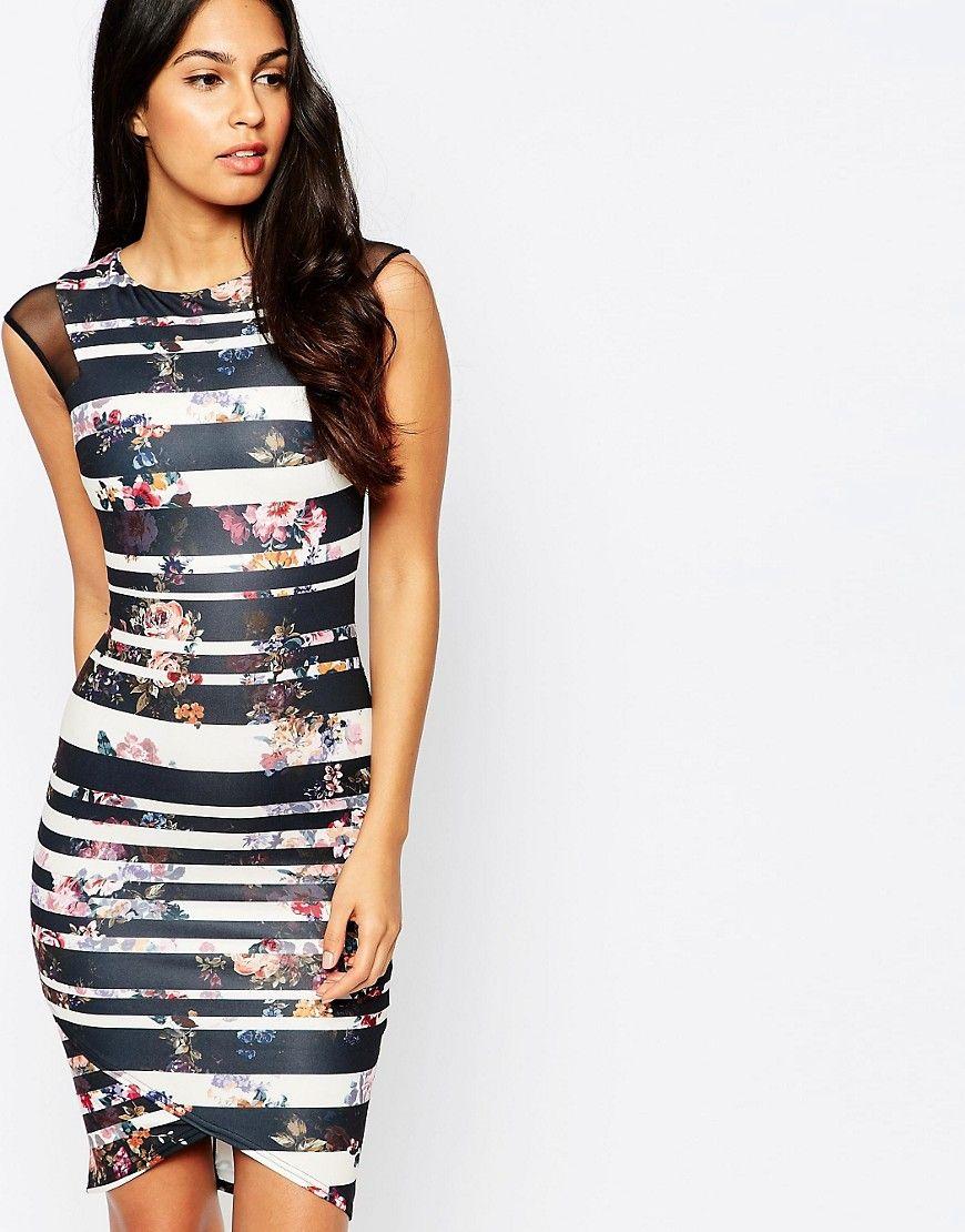De fedeste Rosie Fortescue Jakarta Bodycon Dress in Multi Stripe - Multi stripe ROSIE FORTESCUE Kjoler til Damer i behagelige materialer
