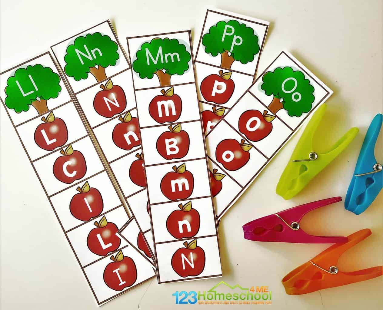 FREE Alphabet Apple Clipping Strips Free alphabet