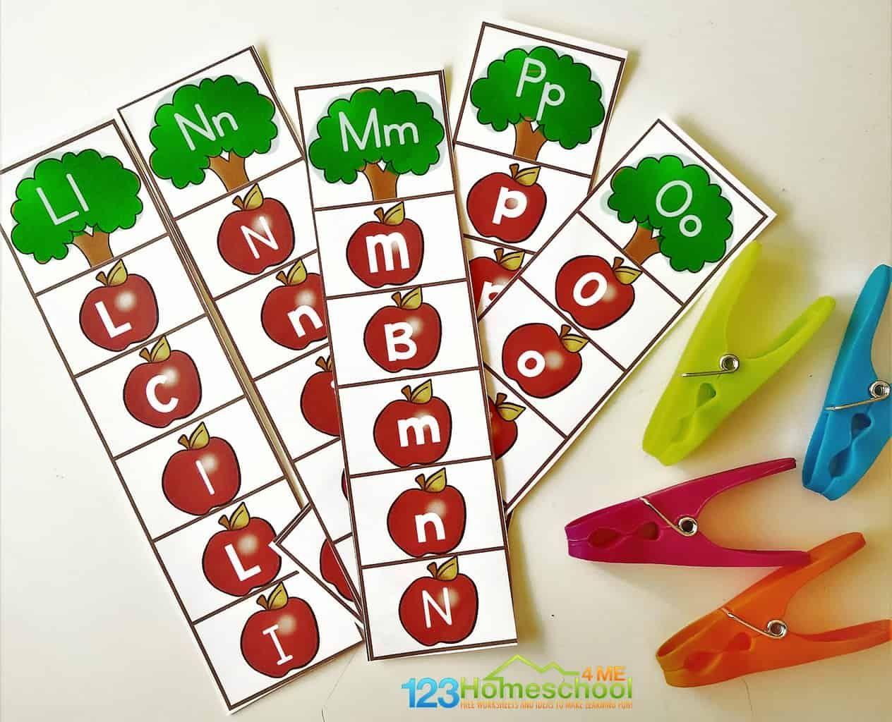 FREE Alphabet Apple Clipping Strips Free alphabet