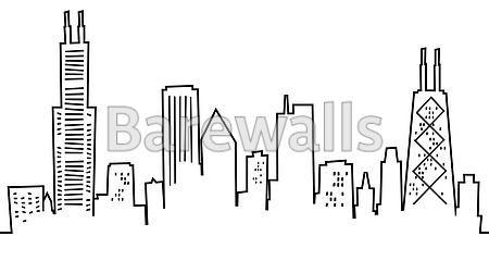 Cartoon Chicago Skyline Chicago Skyline Tattoo Chicago Art Chicago Art Print