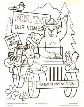 Coloringsheetsmokeyinjeep Jpg 274 350 Smokey The Bears Bear Coloring Pages Camping Coloring Pages