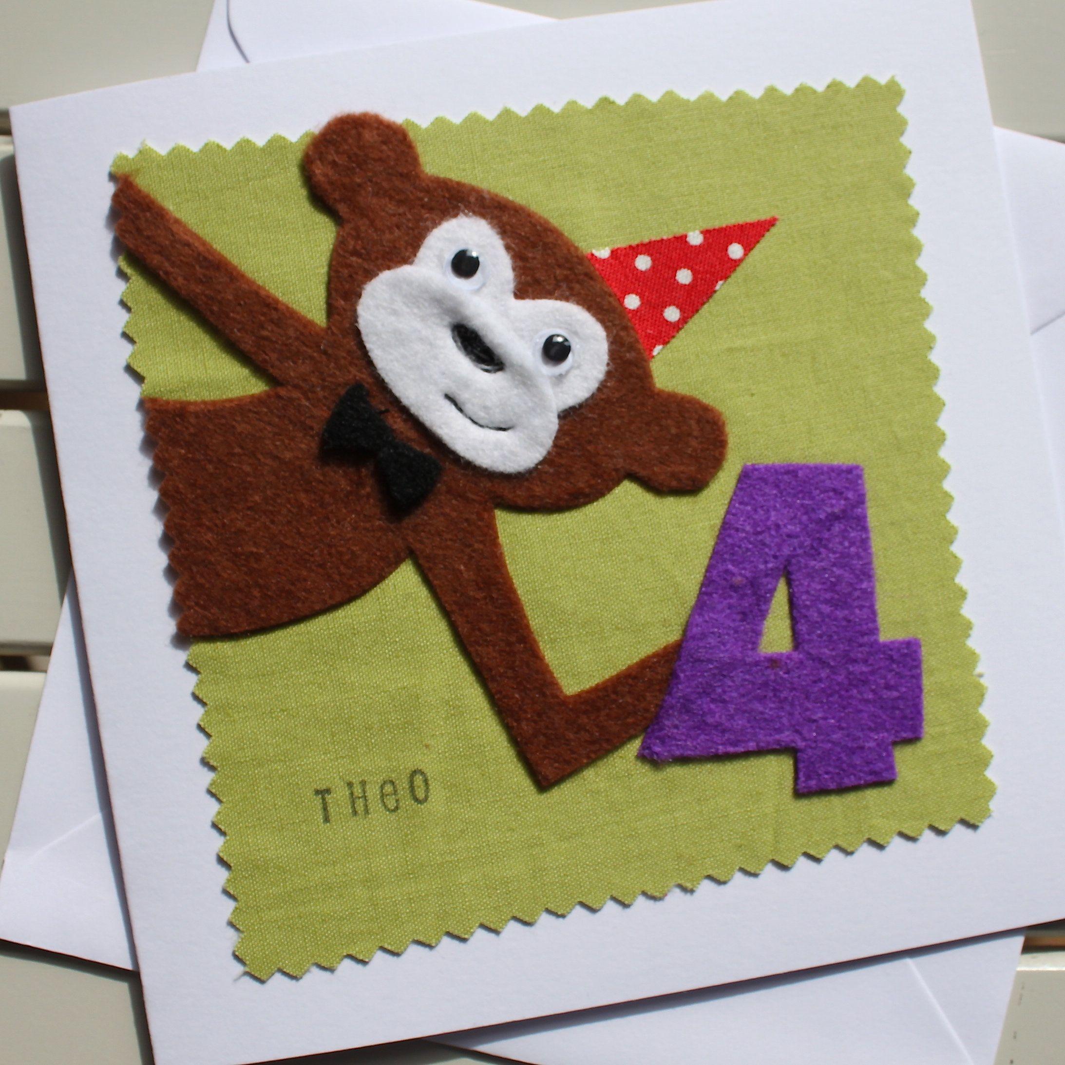 Monkey Personalised Childrens Birthday Card Handmade Felt Etsy Fabric Cards Birthday Cards Handmade Birthday Cards