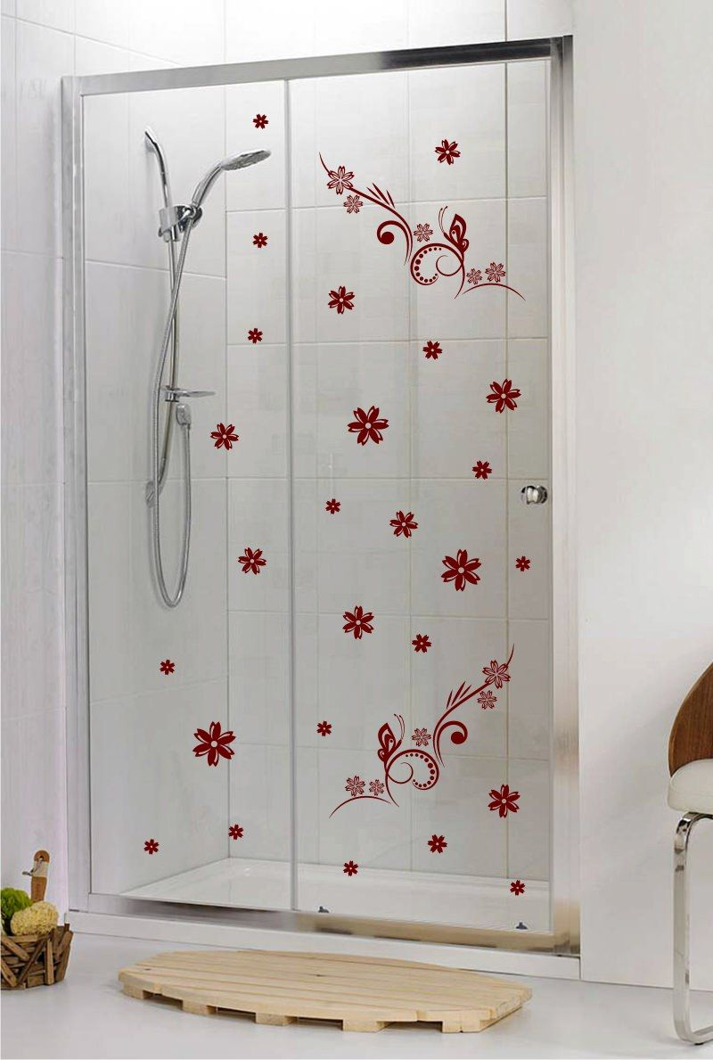 Shower door vinyl decal 4 give your shower door a look of grace and beauty