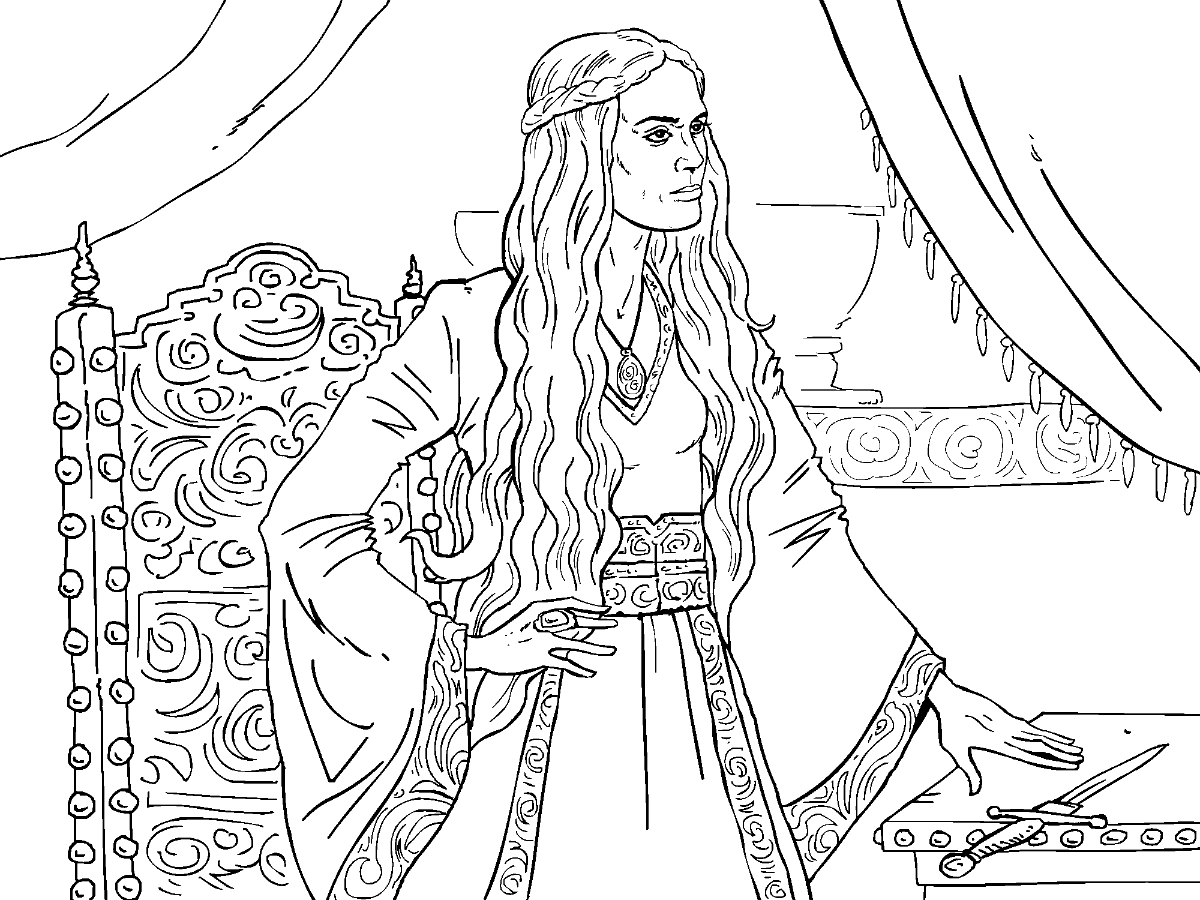 Colouring in pages games - Game Of Thrones Colouring In Page Cersei